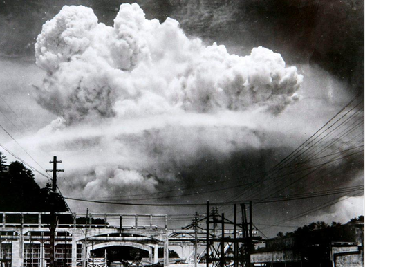 A mushroom cloud photographed from the ground on August 9, 1945 after the US dropped an atomic bomb on Nagasaki, Japan