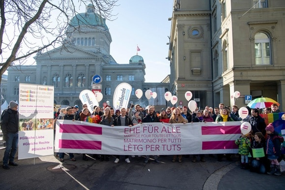 Protesters in favour of same-sex marriage in Bern
