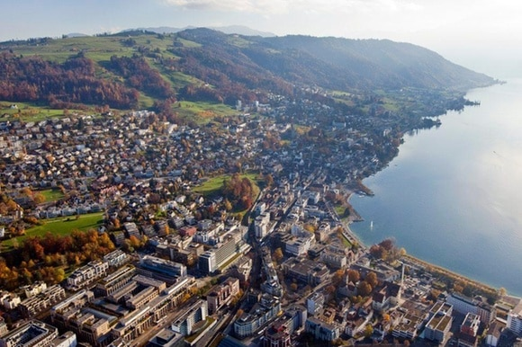 Aerial view of Zug in central Switzerland