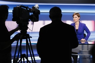 Woman in TV studio