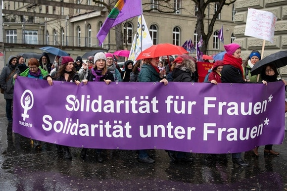 demo in bern by women