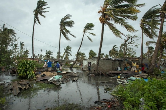 Residents inspecting the damages after cyclone Idai hit central Mozambique