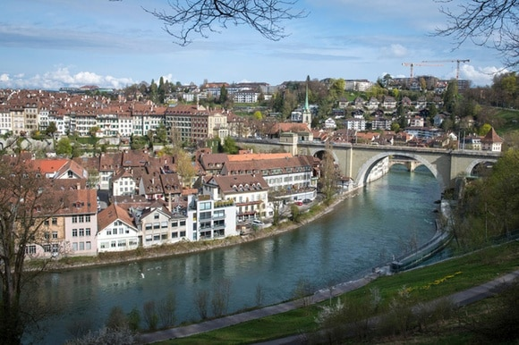 view of aare river and the city of bern