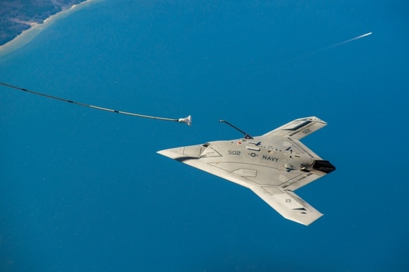 The US X-47B unmanned autonomous aircraft being tested in 2015