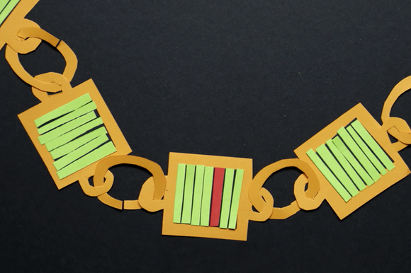 Cut-out paper model of a blockchain