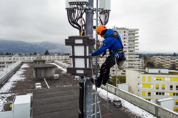 5G antenna being installed