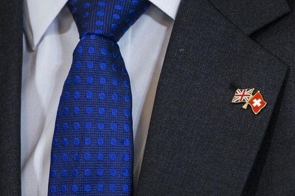 Pins with miniature flags of Britain and Switzerland