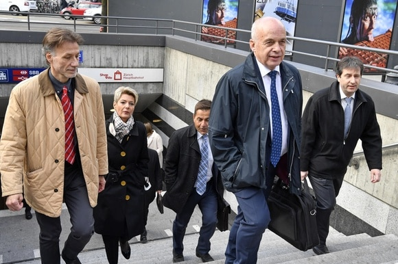 Members of the Swiss government and the cabinet staff at Zurich railway station