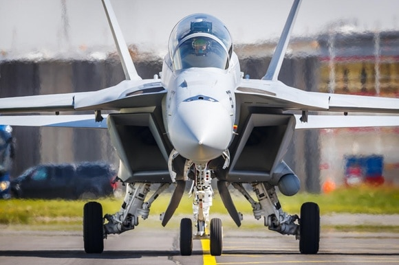 A Boeing F/A-18 Super Hornet fighter jet