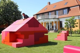 Puzzle house in the garden of the Swiss Embassy in Copenhagen.