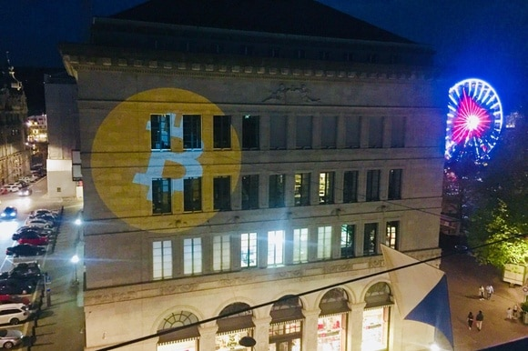 SNB building with bitcoin projection