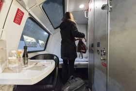 A sleeper compartment on an Austrian train