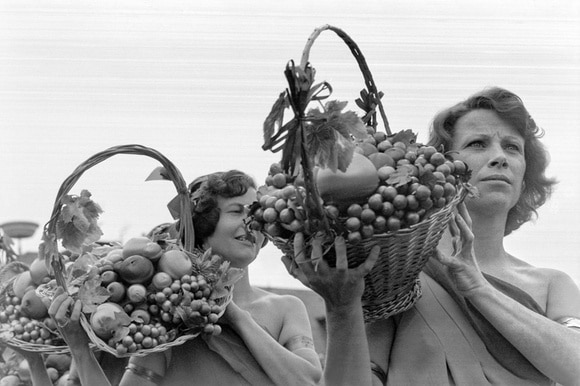 women carrying grapes