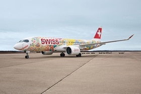 Swiss airplane decorated in Fête des Vignerons colours