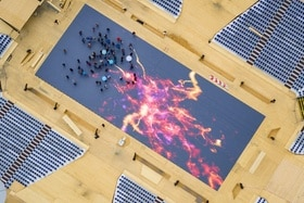 Aerial view of LED flooring in the Fête des Vignerons arena