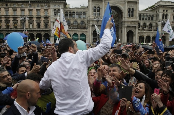 matteo salvini in milan with people