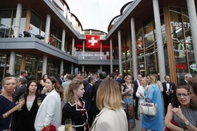 Guests attend the opening ceremony of the new Swiss embassy building in Moscow