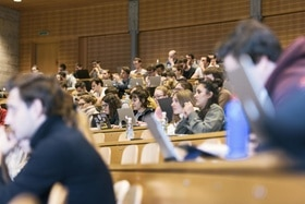 students following a lecture