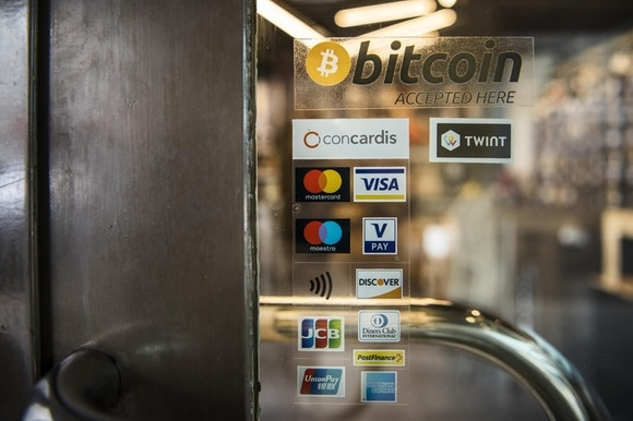 Shop window stickers accepting bitcoin and conventional payments