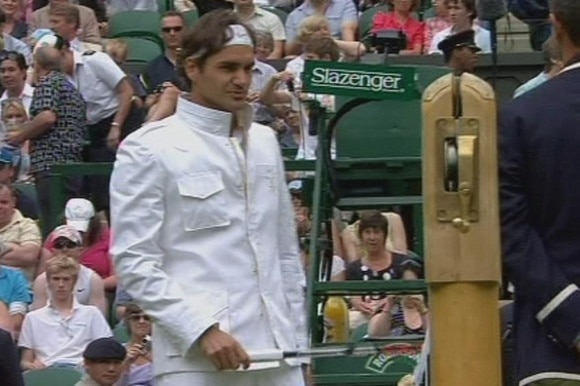 Roger Federer in an stylish white jacket