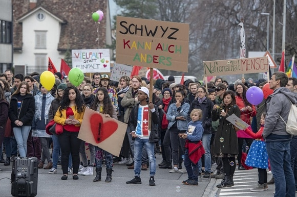 An anti-racism demonstration in the central Swiss town of Schwyz