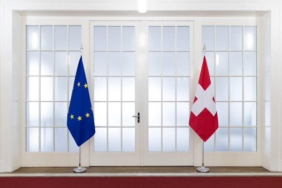 Swiss and EU flags