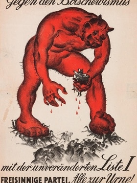 Poster by the Radical Party warning voters not to support the red Bolshevik monster