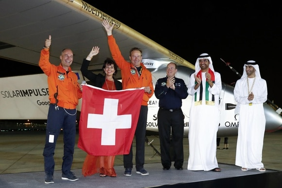Solar Impulse after landing in Abu Dhabi