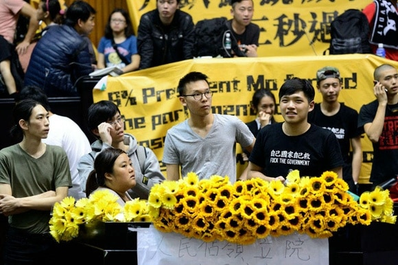 Students in Taiwan occupy the parliament buildin