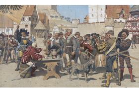 artwork showing mercenaries signing up for battle, unknown date