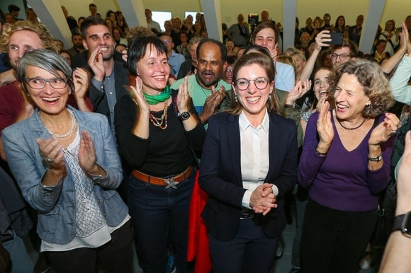 Women candidates from the Green Party celebrate their victories