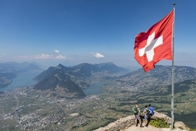 mountain and Swiss flag