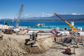 A new pumping station is under construction north of Geneva