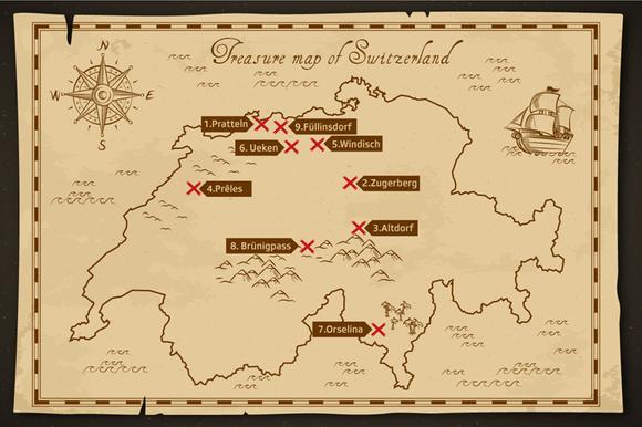 Mapa do tesouro da Suíça