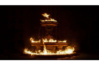 Fountain on fire.