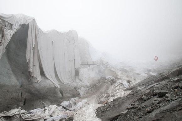 Glacier covered in cloth