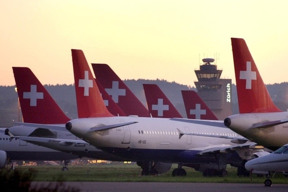 Grounded Swissair planes