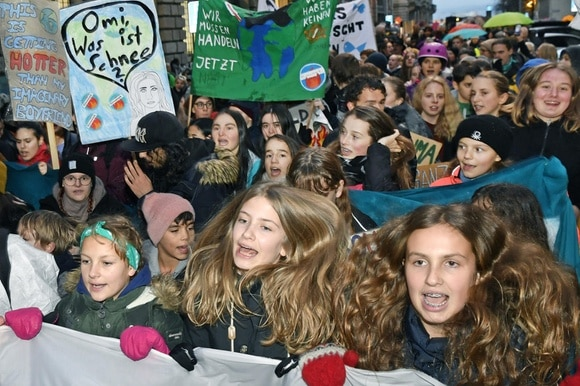 Young climate strikers in Zurich