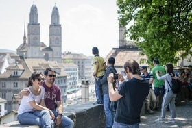 Tourists in front Grossmünster