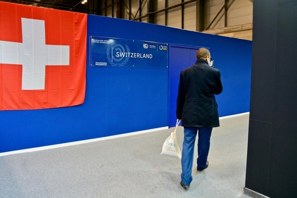 Swiss flag and temporary-looking structure