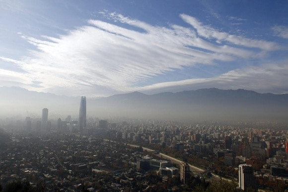 General view of air pollution in Santiago,