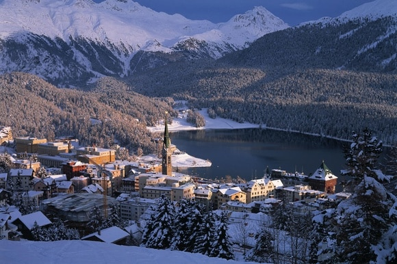 St Moritz and mountains