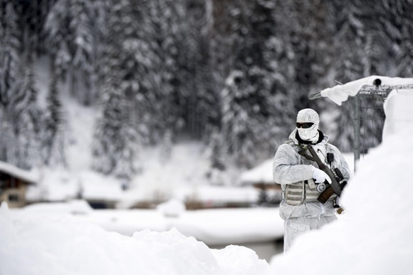Swiss soldier in Davos
