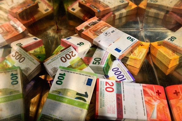 Pile of francs and euros