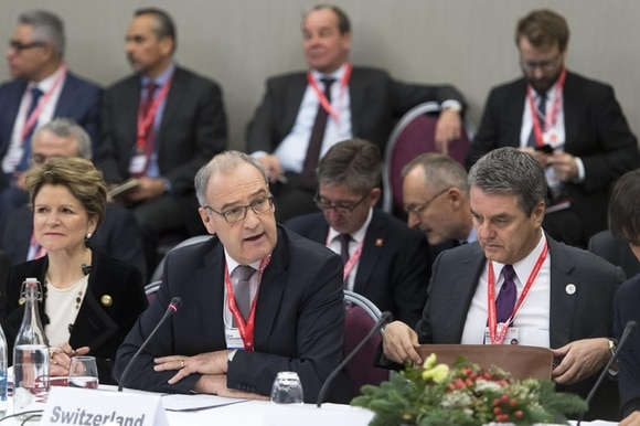 Swiss government delegation and WTO director Azevedo at Davos conference