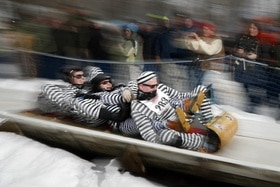 A four-man toboggan