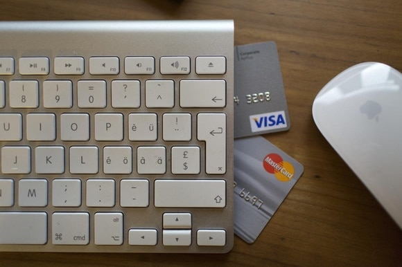 Computer and credit cards.