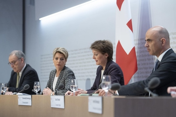 Swiss government ministers at news conference
