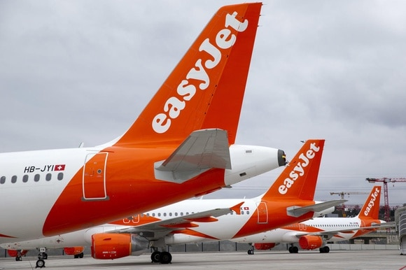 Numerous EasyJet planes have been parked on the tarmac at Geneva Airport
