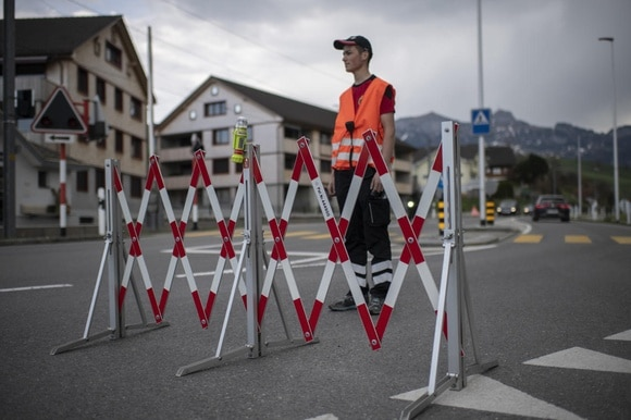 Man and barrier